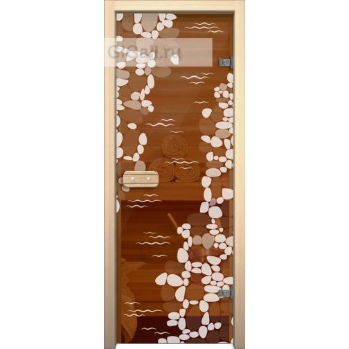 Дверь для бани или сауны стеклянная Арт-серия с рисунком Глассджет Ручей,липа-5900575
