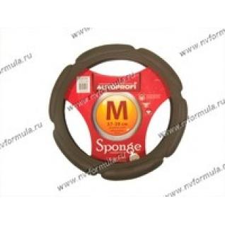 Оплетка на руль Sponge M d37-39см SP-5026 D.GY т серая-432569