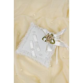 Подушка для колец №06, белый/золото