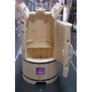 """Кедровая фитобочка """"NEO"""" овальная со скосом с парогенератором в комплекте-6012213"""