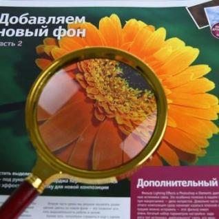 Лупа золото с коричневой ручкой, увеличение х6, диаметр 90мм, карт/кор.