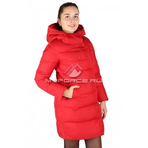 Пальто женское зимнее красного цвета 6128-678344