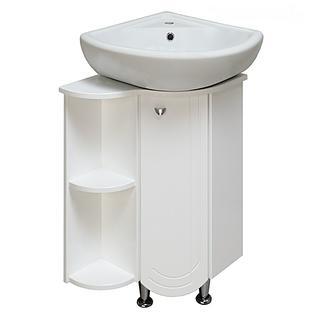 Тумба для ванной Runo Бис без Раковины (Элегия 45 угл) Белая Левая