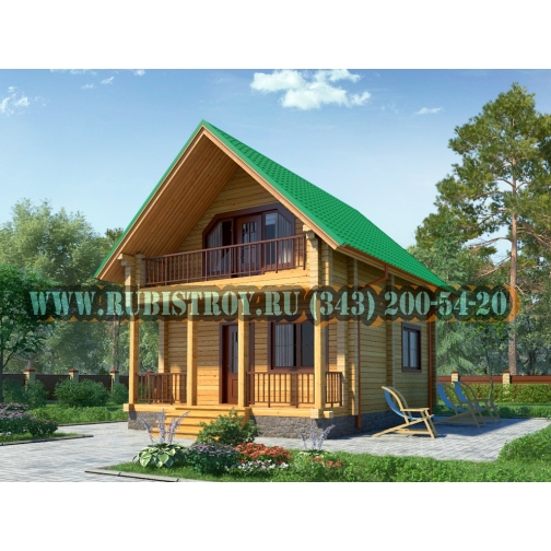"Проект ""ФОМИНО"" из профилированного бруса 145 х 140 мм, размер 7,5 х 6, площадь дома 80 кв.м.-465315"