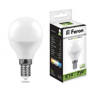 Светодиодная лампа Feron LB-95 (7W) 230V E14 4000K G45-8164277