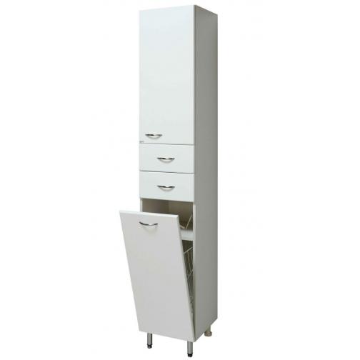 Шкаф-пенал Runo 40 правый с корзиной для белья, белый-6800230