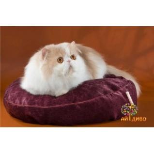 Лежанка для кошек и собак круглая, велюр