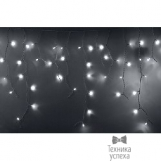 Neon-night Гирлянда Айсикл (бахрома) светодиодный, 2,4 х 0,6 м, белый провод, 220В, диоды белые 255-034-6