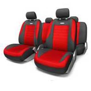VW Polo sedan 2010- / Фольксваген Поло седан 2010- Чехлы на сиденья универсальные автомобиля AUTOPROFI Evolution (черно/красные)-415116
