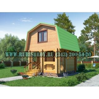 """Проект """"ПОЛЯНКА"""" из профилированного бруса 145 х 190 мм, размер 5 х 4, площадь дома 33 кв.м."""