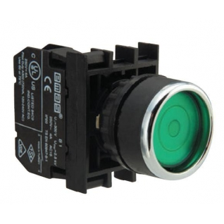 Кнопка круглая без фиксации зеленая (1 НО) B100DY Emas-900850