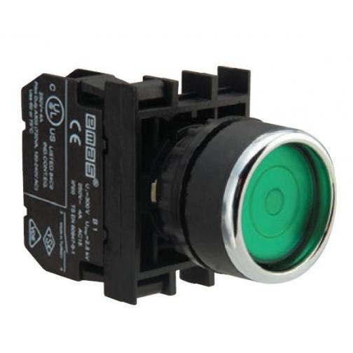 Кнопка круглая без фиксации зеленая (1 НО) B100DY Emas 900850