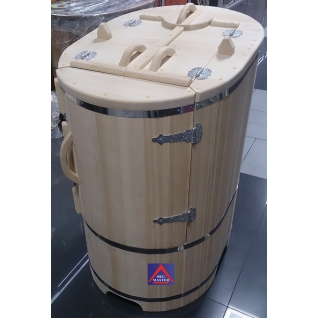 Кедровая бочка овальная со скосом с парогенератором в комплекте профессиональная-6012225