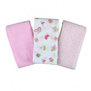 Пеленки Summer Infant Набор пеленок 3 шт. Girl Bugs&Butterflies (розовая/белая с насекомыми/цветы)