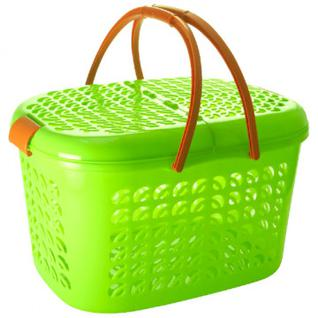 Корзина -переноска пластиковая зеленая ПЦ3409