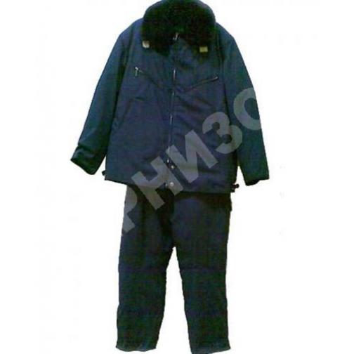 Костюм лётный меховой (куртка+ полукомбинезон) синего цвета-9883