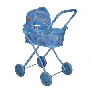 Классическая коляска-люлька для кукол, голубая 1 TOY-37704117