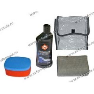 Набор для полировки кузова КиТ-058 Полироль губка салфетка в автокосметичке-417688