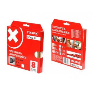 """Уплотнитель """"D"""" белый 9х8мм 6м STARFIX (SF1012-01) STARFIX-6004890"""