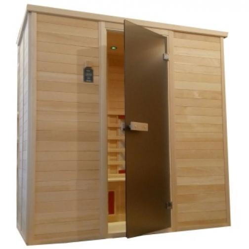 Инфракрасная сауна 4 - местная со стеклянной дверью и деревянным фасадом-6012521