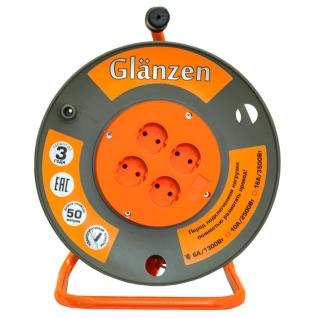 Удлинитель силовой на катушке GLANZEN 4 гнезда, 50м EB-50-006