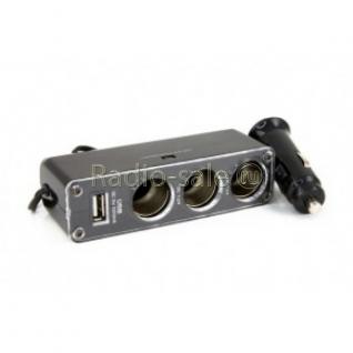 Автомобильный Разветвитель прикуривателя на 3 гнезда + выход USB 5V 0,5A WF-0096-1319562