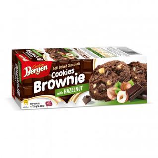 Печенье шоколадное Bergen Брауни с кус.шоколада и лесным орехом, 126г