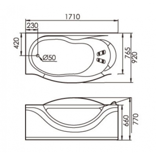 Акриловая ванна Gemy с гидромассажем (G9072 K) 6822365 4