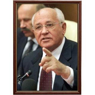 Портрет Президента СССР Михаила Горбачёва в рамке и со стеклом 30х40-6103204
