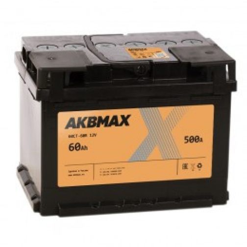 Автомобильный аккумулятор AKBMAX AKBMAX 60RS (низкий) 500А обратная полярность 60 А/ч (242x175x175)-6683718