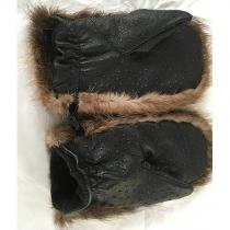 Варежки из бобра с телячьей кожей