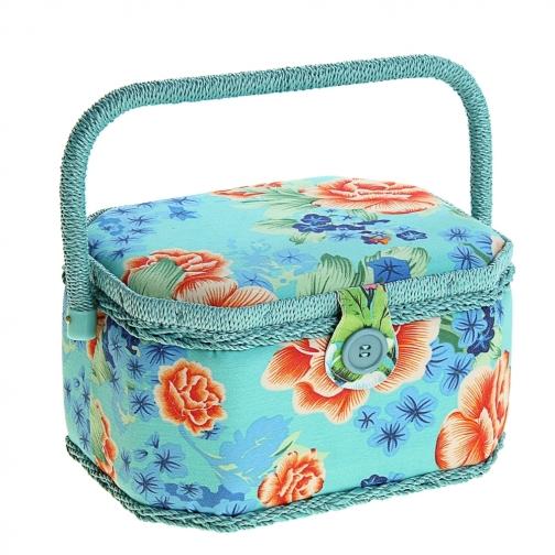 """Шкатулка средняя """"Цветы на голубом"""", для рукоделия и шитья-5833886"""