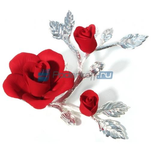 Красная роза из фарфора с бутонами, малая-761838