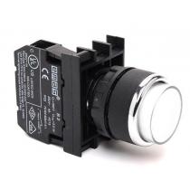 Кнопка круглая без фиксации с подсветкой-светодиод белая D050YDB Емас возможны контакты 1НО, НЗ