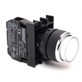 Кнопка круглая без фиксации с подсветкой-светодиод белая D050YDB Емас возможны контакты 1НО, НЗ-900847