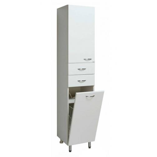 Шкаф-пенал Runo 40 левый с корзиной для белья, белый-6800231