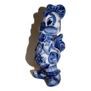 Сувенир Петух в сапожках большой 14.5х7см Гжель, кобальт синий-5274397