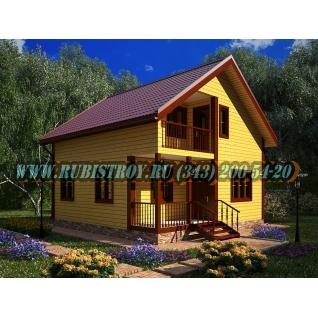 Дачный дом по проекту СТТ-27из обрезного бруса, сечением 150 х 150 мм., площадь 111,0 кв.м., размер 8,0 х 8,0м.