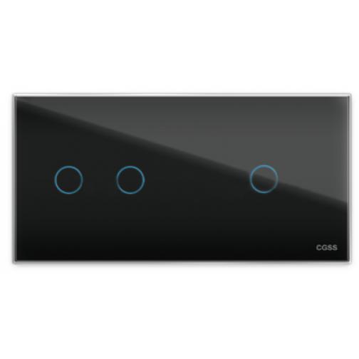 Трехлинейная панель стеклянная черная на два поста 2+1 cgss wt-p03rb-5998638
