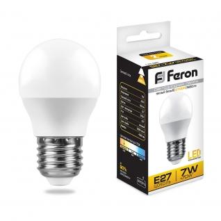 Светодиодная лампа Feron LB-95 (7W) 230V E27 6400K G45-8164281