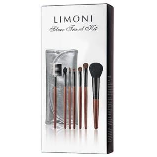 LIMONI Дорожный набор кистей для макияжа SILVER TRAVEL KIT - 7 кистей + чехол серебряный-2147801