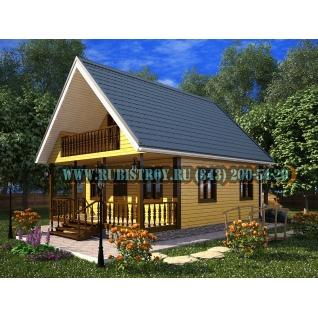 Дачный дом по проекту СТТ-14, из обрезного бруса сечением 150 х 150 мм., площадь 93,0 кв.м., размер 7,0 х 9,0 м.-465234