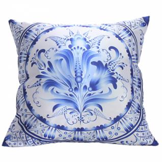 Декоративная подушка гжельская роспись, двусторонняя в ассортименте (40х40см.)-5254933
