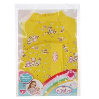 Одежда для кукол 'Карапуз' 40-42см, желтый комбинезон с шапочкой 'зверята' в пак. в кор.100шт-37797026