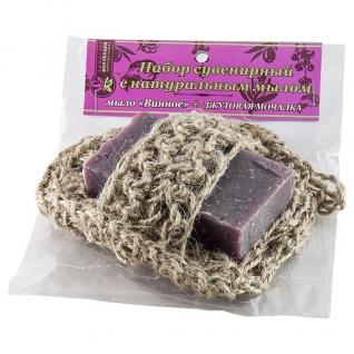 Мочалка с мылом Винное из джута-4957734