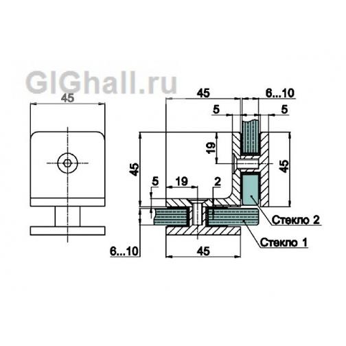 Коннектор стекло - стекло 90 гр. T-725 OBR 5901294 2