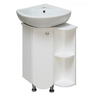 Тумба для ванной Runo Бис без Раковины (Элегия 45 угл) Белая Правая