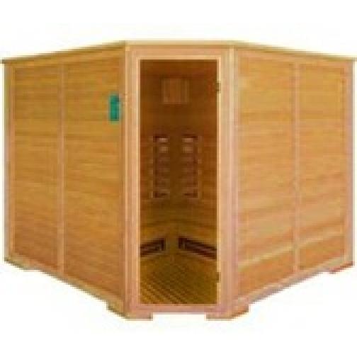 Инфракрасная сауна 6 - местная, угловая со стеклянной дверью и деревянным фасадом-6012517