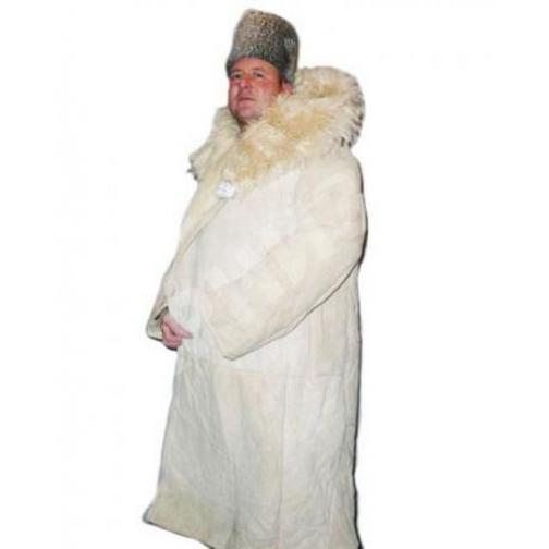 Тулуп армейский постовой (караульный) из натуральной нагольной овчины белого цвета (Класс Люкс)-9440
