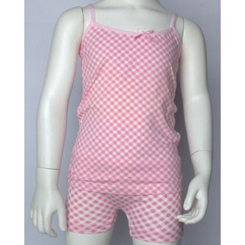 MiniMini набор белья для девочки (трусики майка) принт клетка-1980237
